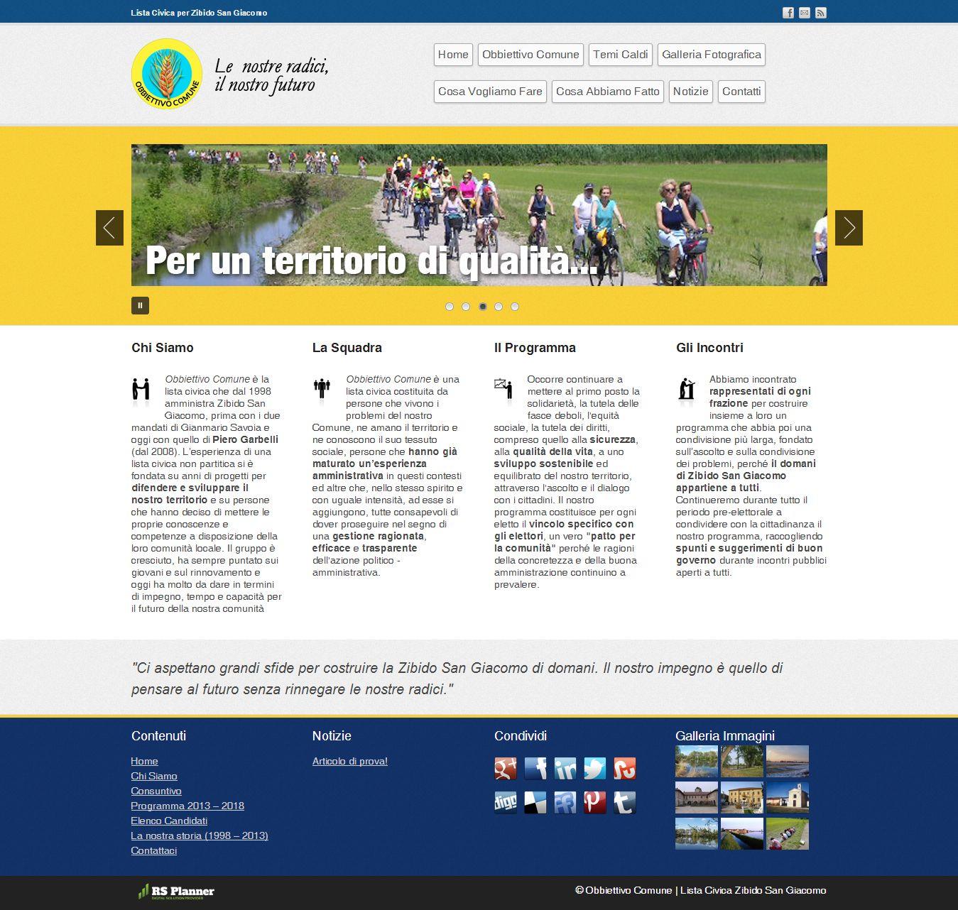 Sito web Obbiettivo Comune Zibido San Giacomo - Realizzazione siti web RS Planner